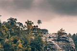 Tourists at scenic view point in Bastei natural park, Germany