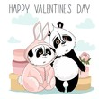 Holiday card with Valentine's Day. Cute Panda with romantic elements. Vector illustration.