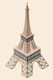 vector 3d isometric icon of Eiffel Tower