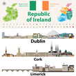 Republic of Ireland traditional countries and provinces map and Irish largest cities skylines. All elements separated in editable and detachable layers. Vector illustration - 236818174
