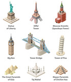 Fototapeta Big Ben - Famous world landmarks vector isometric high detailed isolated icons © brichuas