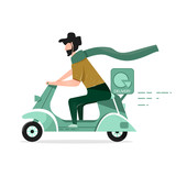 Vector illustration in a flat style. A man with a beard, works in the delivery on a scooter (moped).