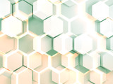 Abstract colorful digital hexagonal pattern 3d
