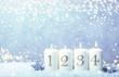 Leinwandbild Motiv 4. Advent Sonntag Hintergrund blau bokeh