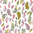 Texture with flowers and plants. Floral ornament. Original flowers pattern. - 236826370