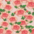 Chinese elegant botanic garden pink red peony flower seamless pattern background