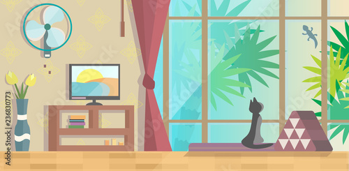 Sunset in Asia vector illustration - 236830773