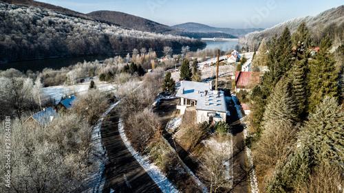 DRON Bieszczasy zima śnieg  - 236840381
