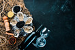 Leinwanddruck Bild - Fresh oysters with ice and red wine. Seafood. Top view. Free copy space.