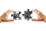 Teamwork and jigsaw concept