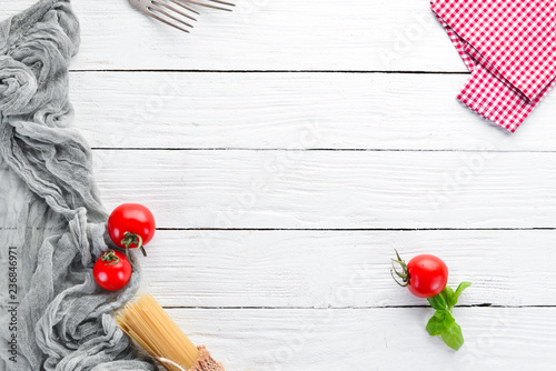 Vegetable background. On a wooden background. Top view. Free copy space. - 236846971