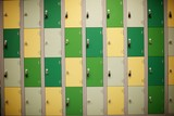 a wall of brown an, cream and biege steel lockers - 236853379