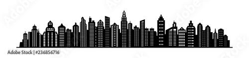 City skyline silhouette. City landscape template. Urban landscape. Vector illustration. - 236856716