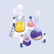 scientist working in laboratory / isometric icons