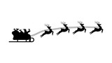 Christmas Silhouette of Santa Claus rides in a sleigh on deer, cartoon on white background, vector - 236859757