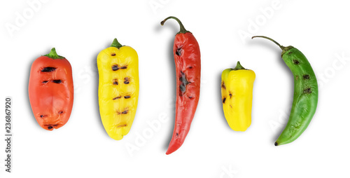 Sweet peppers and chili grilled isolated on white - 236867920