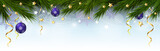 Christmas, New Year border with branches of a Christmas tree, snowflakes and stars. Vector illustration. - 236885330
