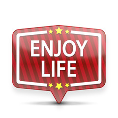enjoy life red web speech bubble with stars isolated