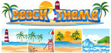 Set of beach theme landscape