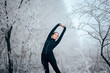 Quadro Winter Sports Jogger Girl Stretching for Training