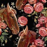 Embroidery horse head and wild roses seamless pattern, dogrose flowers. Template for clothes, t-shirt design - 236910703