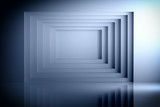 Dark blue geometric tunnel screen with blank copy space in the center. Wall geometry over shiny reflective surface. 3d illustration. © dariaren