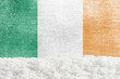 Winter grunge background with snowdrift and Irish flag in the backdrop - 236913330