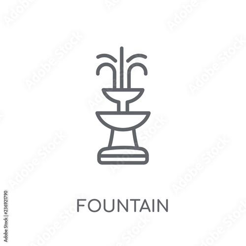 Ikona liniowej fontanny. Nowoczesny koncept Fontanna koncepcja logo na białym tle z kolekcji Architecture and Travel