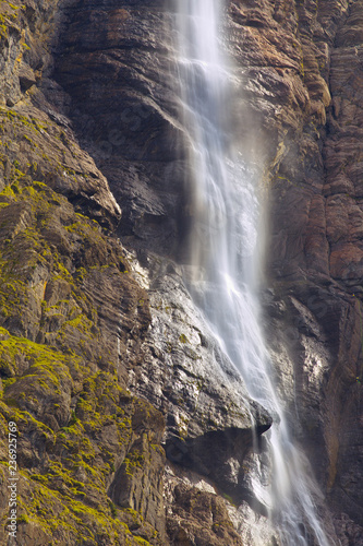 Detailed view of waterfall of Gavarnie, long exposition, Pyrenees Occidentales, France - 236925769