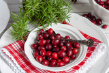 Red cranberries in a white porcelain bowl with a silver spoon - 236926992