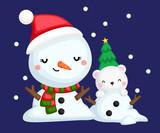 a vector of a snowman with a polar bear