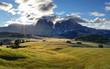 Quadro Dolomiti landscape with mountain and sun