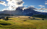 Dolomiti landscape with mountain and sun - 236932705