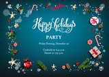 Blue holiday card with Christmas decorations and balls, stars, gift boxes, fir tree branches on fairy background. Christmas festive template.