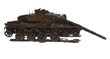 Leinwandbild Motiv damaged rusty battle tank on an isolated white background. 3d illustration