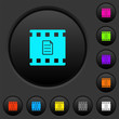 Movie details dark push buttons with color icons