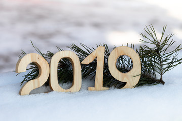New year and christmas theme with fir branches and snow. 2019. Selective focus