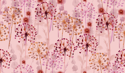 Seamless Watercolor wild floral pattern in hand painting style .