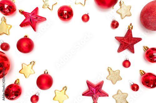 Red christmas holidays decoration on a white background