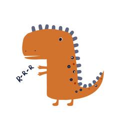 Roaring dinosaur predator. Funny kids print. Vector hand drawn illustration. © bilaaa