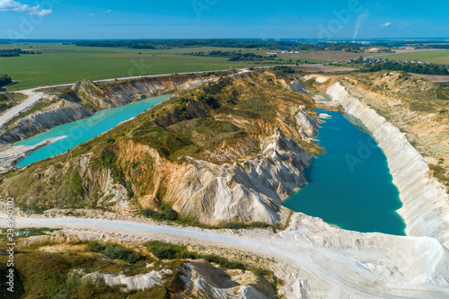 Quarry for the extraction of chalk. Extraction of minerals by the open method. Aerial view