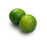 Sour key one whole lime isolated on white background