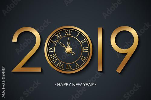 2019 Nowy Rok świętować transparent z pozdrowieniami świąt Szczęśliwego Nowego Roku i złoty kolorowy nowy rok zegar na czarnym tle. Ilustracji wektorowych.