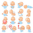 Set with baby stickers. Cute little baby girl as smiley with different emotions. Face expressions. Sad baby, happy baby, scared, sleep,cry.  Template for social media, messenger. Vector illustration. - 236972977