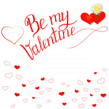 Valentine's day greeting inscription and hearts on a white background for creating cards, posters, stickers, covers, for printing on wrapping paper, for gifts, for packages.