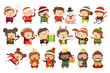 Christmas characters children and adults celebrating upcoming holidays. Various winter activities at Christmas market. Foods, sports and gifts giving. Vector cartoon illustrations. - 236973167