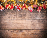 Decorative Christmas rustic background with gifts - 236983321