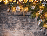 Decorative Christmas rustic background - 236983506