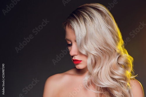Luxury woman portrait with perfect hair and make-up blonde.