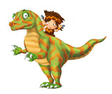 cartoon happy scene with caveman man on dinosaur velociraptor on white background - illustration for children - 236988981